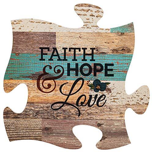 P. Graham Dunn Faith Hope & Love Multicolor 12 x 12 Wood Wall Art Puzzle Piece Plaque