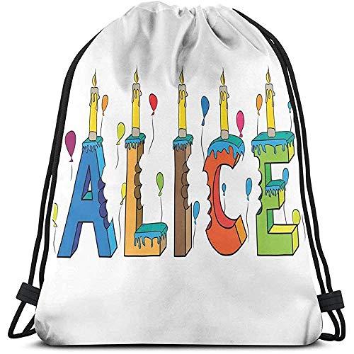 Rugzakken Zakken, Kleurrijke Meisje Naam Met Ballonnen Bitten Letters Kaarsen Cartoon Stijl Illustratie, Verstelbare String Sluiting