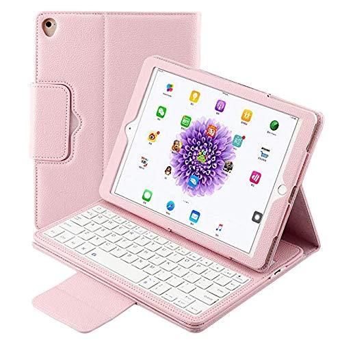 Aidashine iPad Teclado Funda para 9.7 para iPad 2/3/4 Soporte de Cuero Durable Desmontable Cubierta magnética Inteligente Auto Sleep/Wake Teclado inalámbrico Bluetooth,Rosado