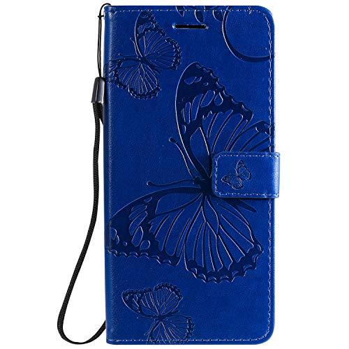 DENDICO Hülle für Xiaomi Redmi 8A, PU Leder Handyhülle Schutzhülle mit Standfunktion & Kartenfach für Xiaomi Redmi 8A - Blau