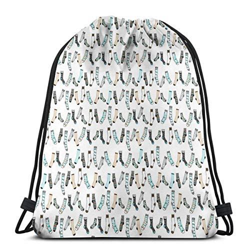 Odelia Palmer Mochilas con cordón Estampado Mochilas, habitación de niños Adolescentes desordenada Lluvia de Calcetines Arte Divertido con temática de lavandería, Cierre de Cuerda Ajustable