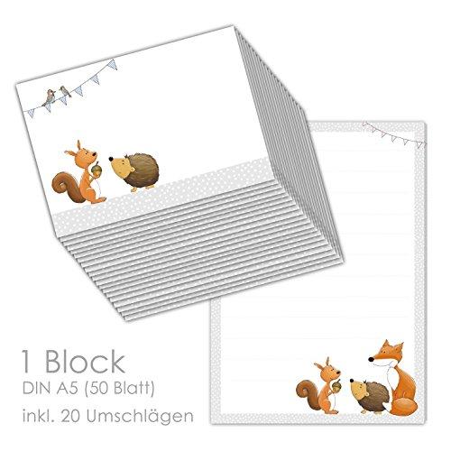 Briefpapier/Briefblock'WALDTIERE DIN A5 (liniert 50 Blatt) inklusive 20 passenden Umschlägen/für Briefpapier Set, Briefpapier Kinder,