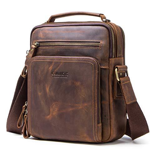 Contacts Echtes Leder Herren Laptop Mini Tab Messenger Crossbody Tasche Handtasche Braun Mini-Umhängetaschen aus echtem Leder (Kaffee)