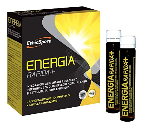 EthicSport - Energia Rapida + - Confezione da 10 flaconi x 25 ml - Integratore alimentare energetico ipertonico con Glucidi sequenziali, Alanina, Elettroliti, Taurina e Ginseng