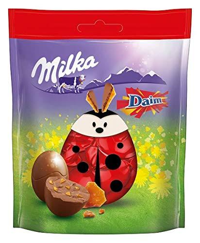 Milka Bonbons Daim – Neues Design – Zartschmelzende Schokoladen Bonbons aus feinster Alpenmilch mit Mandelkaramellstückchen – 13 x 86g