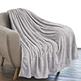 Manta de forro polar de franela de lujo de Pavilia, color gris claro, suave y decorativo, tela de jacquard, para cama, sofá, cama, sofá, sillón, con textura de terciopelo, diseño de hojas, ligero,...