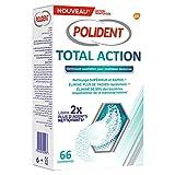 POLIDENT - Nettoyant Total Action - Pour Prothèses Dentaires Partielles ou Complètes - Format : 1x66 comprimés
