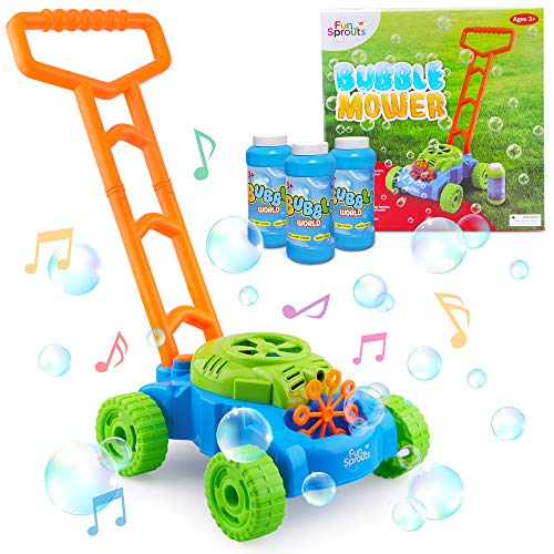 Bubble Mower for Toddlers - Bubble Mower - Lawn Mower Bubble Machine for Kids - Musical Push Toy & Bubbles Machine - Indoor & Outdoor Pretend Play Bubble Maker - 3 Bottles of Bubble Solution.
