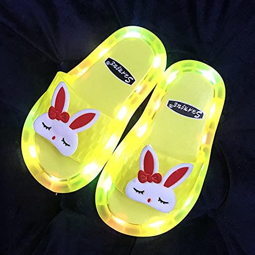 Zuecos Sanitarios Mujer Originales,Zapatillas Luminosas, Verano Lindo Dibujos Animados Led Conejo No ResbalóN Suave-Chanclas De NiñO-NiñO, Zapatillas De Luz Intermitentes para NiñAs CumpleañOs-I 26/2