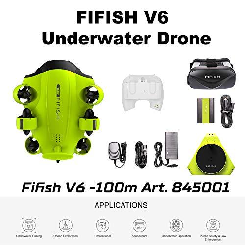 Fifish Drohne U-Boot Underwasser Kamera V6 QYSEA Weitwinkel 162˚ 6 Bewegungsrichtungen 4K UHD 12 Mp Kable 100 m Tiefe Spule 64GB Video Fotoaufnahme Angeln Unterwasserwelt 845001