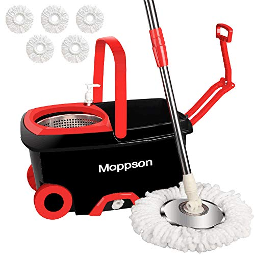 Moppson Spin Mop and Bucket Floor Cleaning System with 5 Microfiber Mop Heads Extended 61 Inch Handle Stainless Steel Dry Basket for Home, Office and Kitchen - 1-Year Guarantee