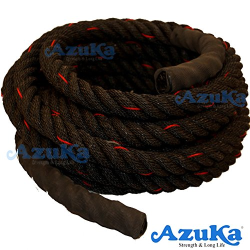 AZUKA® Ultimate Fitness Strength Training Battle Rope 1.5inch 30ft + Free Surprise Poster Inside