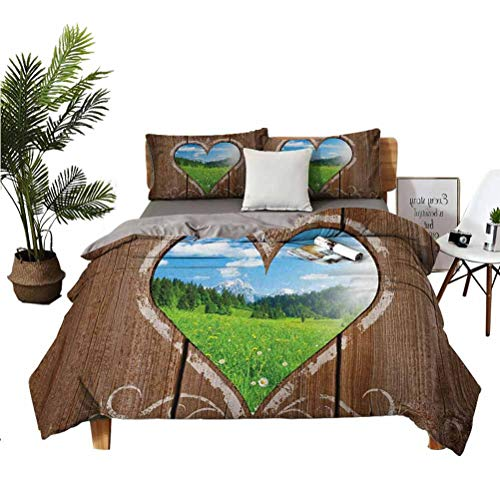 Outhouse 3-Piece Set of Microfiber Comfort Sheets Heart Window View from Wooden Rustic Farm Barn Shed with Chalk Art Image Super Soft Anti-Wrinkle Fade Breathable California King 98' x104