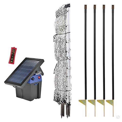 Premier 42' PoultryNet Plus Starter Kit - Includes White PoultryNet Plus Net Fence - 42' H x 100' L, Double Spiked, Solar Fence Energizer, FiberTuff Support Posts & Fence Tester