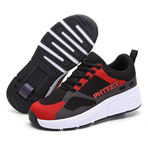 ZZRA Patines Dobles Estudiantes Zapatos con Ruedas livianos Que Brillan intensamente LED deformados de una Sola Rueda Zapatos de Skate Carga USB Niños Niñas Deportes al Aire Libre Zapatos Patinaje