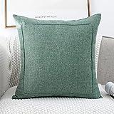 Jepeak Funda de cojín de lino y arpillera decorativa, cuadrada, gruesa, lujosa, hecha a mano con cremallera invisible para sofá cama