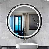 QZ Montado en la Pared de Espejo, Smart Touch LED Espejo de baño, Maquillaje Espejo de cortesía con Las Luces, Arenado de Luces Suave, Blanca Marco Retro luz Círculo de Acero Inoxidable/Caliente