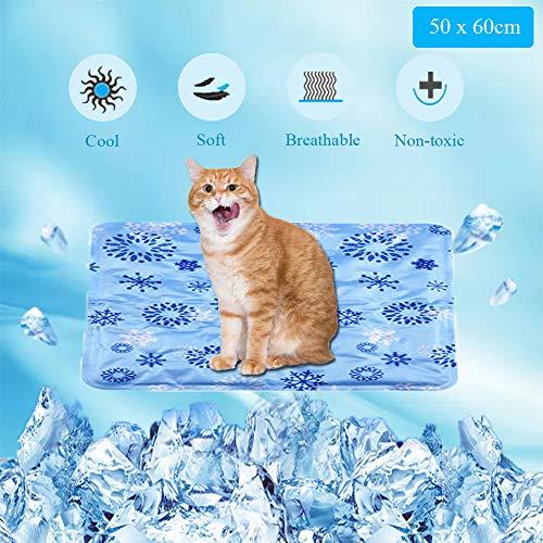 WELLXUNK Kühlmatte Hunde Katzen Selbstkühlend Kühlkissen, Groß Haustier Kühlmatte,für Hunde, Katzen, Laptop, Sofa, Büro (Blaues Schneeflockenmuster/Saphirblaues Punktmuster, (50 * 60 cm)