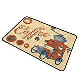 shirlyhome Door Mats Outside Retro Heavy Duty Doormat Artsy Commercial Design of Vintage Truck with Coffee Grinder Old Fashioned 30'x40' Cream Orange Grey