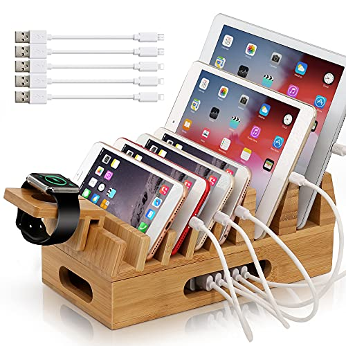 BEEBO BEABO Bamboo Charging Station for Multiple Devices Organizer, BEEBO BEABO Desktop Wooden Docking Stations Holder Compatible with Phone, Watch, Tablet, Pad (NO Include USB Charger)