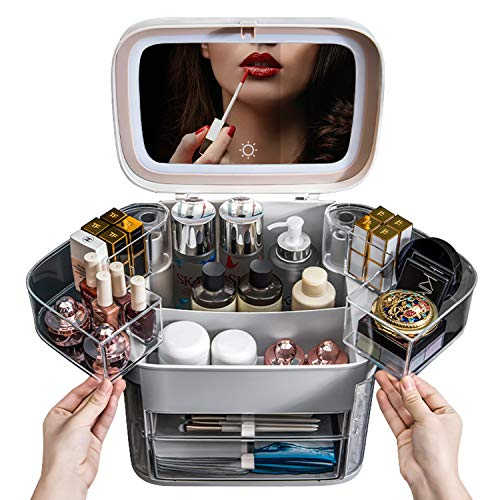 LED Light Cosmetic With led mirror cosmetic storage box home dressing table skin care products dormitory large capacity desktop rack (light gray)