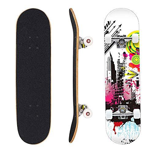"""Eseewin Skateboard 7 Layers Decks 31""""x8 Pro Tabla de Skate Completa Maple Wood Longboards para Adolescentes Adultos Principiantes Niñas Niños(Freedom)"""