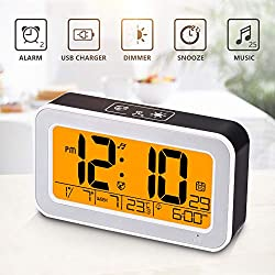 Music Alarm Clock, Digital Clock for Bedroom with Dimmer, Snooze,USB Rechargeable Clock with Dual Alarm, Temperature Detect, Smart Touch Backlight, Adjustable Alarm Volume