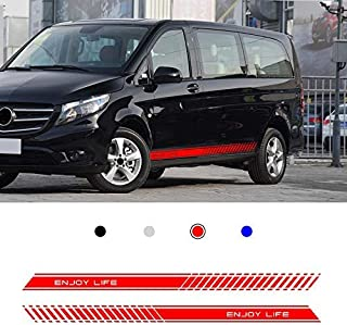 carado Racing Body Side Stripe Skirt Roof Hood Decal Sticker for Mercedes Vito Vinyl Sport Badge Car Styling Accessories Red 1 Pair