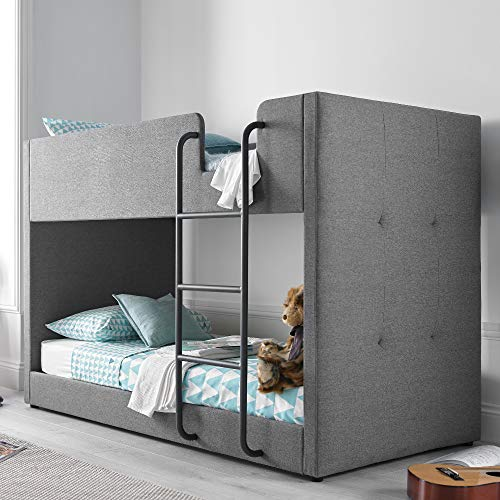 Kids Bunk Bed, Happy Beds Saturn Grey Fabric Modern Twin Sleeper