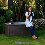 Keter - Banco de almacenaje para jardín, diseño con efecto madera (455 L)