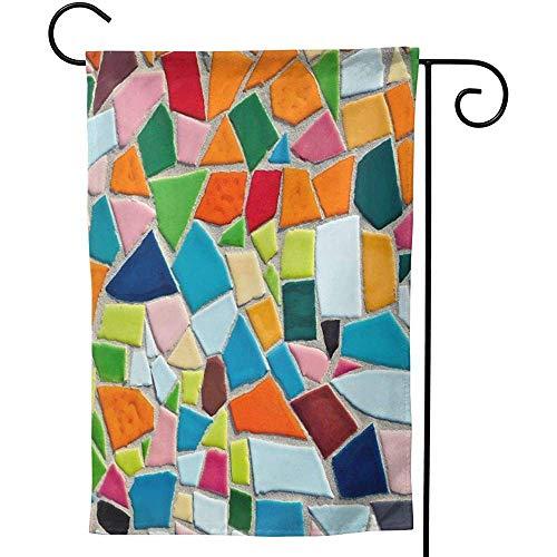 CHANGSHABF Tuin Banners, Aangepaste Thuis Tuin Mozaïek Tegel Patroon Textuur Decoratie 70X102Cm Dubbelzijdige Tuin Vlag