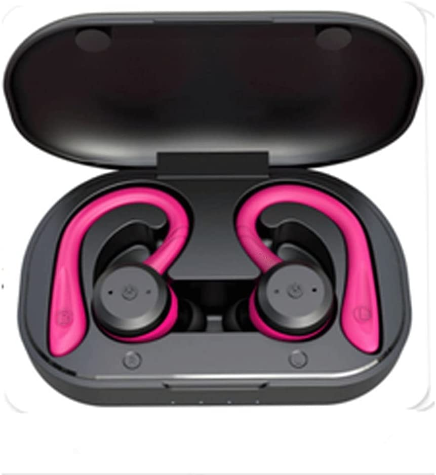 XUBIAODIAN IPX7 Waterproof Bluetooth Headphones Stereo Sound Earphones, Wireless Charging Case & Power Display, Sweat Proof Dual Bluetooth 5.0 Headset with Built-in Mic for Sports (Color : Pink)
