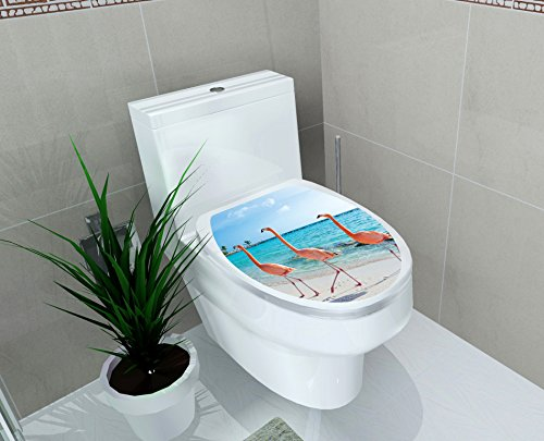 Home Find Toilet Seat Decals Cute 3 Flamingos are Walking on The Beach Removable Waterproof Toilet Seat Wall Stickers for Washroom Bathroom Shower Room Decors 11.8 inches x 14.2 inches