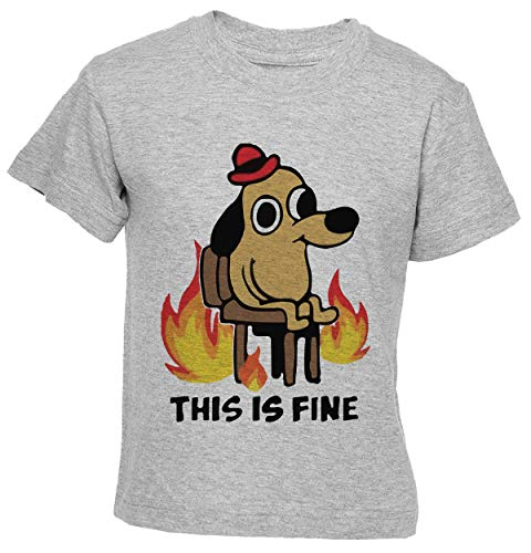 Delavi This Is Fine Doggy Camiseta Niño Niña Niños Gris T-Shirt Boys Girls Kids Grey