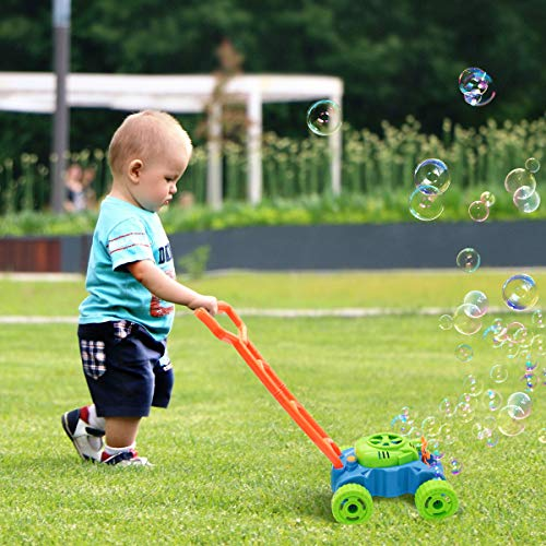 Lydaz Bubble Mower for Toddlers, Kids Bubble Blower Machine Lawn Games, Summer Outdoor Push Toys, First Birthday Toy Gifts for Preschool Baby Boys Girls 1 2 3 Years Old