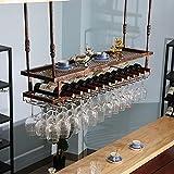 Estante para vinos colgante con soporte y estante para vasos, estante para copas de vino con barra de techo de metal ajustable, vino industrial de 2 capas montado en la pared, estante para vino con