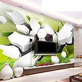 YunYiBZ Persönlichkeit Kreative Gebrochene Fußball 3D Cartoon Tapete Kinderzimmer Moderne Einfache Inneneinrichtung Fototapeten Papel De Parede,460cm(W) x280cm(H)