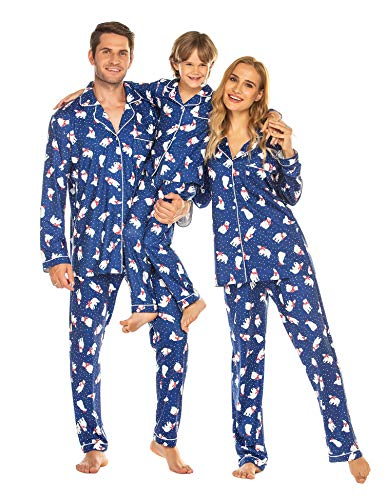 Ekouaer Chritsmas Pajamas Family Couple Womens Winter Warm Lounge Set Button Up Pjs for Xmas(Women/Navy,L)