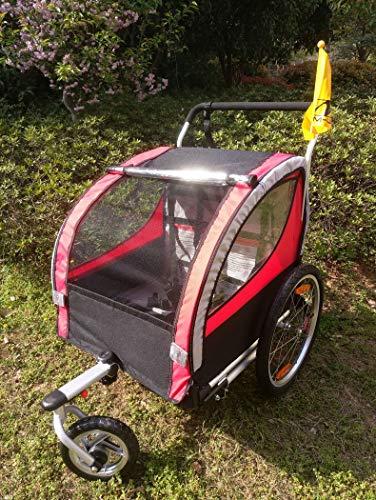 QWERTOUY 2 in 1 Zwillinge Fahrradanhänger, Aluminiumlegierungs-Rahmen scherzt Fahrradanhänger mit Regenschutz, Faltbarer Kinderlastwagen, 20-Zoll-Babyanhänger,A
