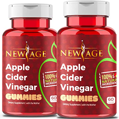 Apple Cider Vinegar Gummies by New Age - 2-Pack - 120 Count - Immunity & Detox - with The Mother, Gluten-Free, Vegan, Vitamin B9, B12, Pomegranate, Beetroot