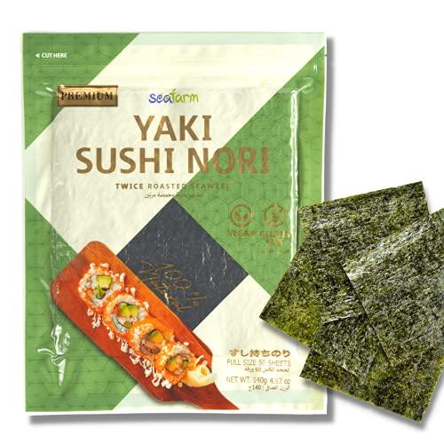 Seafarm Yaki Sushi Nori Twice Roasted Seaweed 50 Sheets 4.93oz   Vegan and Gluten Free Nori sheets for Sushi and Kimbap wrap   Korean Seaweed Sheets for Sushi Roll