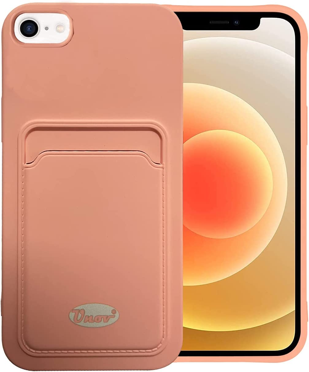 Unov Case Compatible with iPhone SE (2020) iPhone 8 iPhone 7 iPhone 6s iPhone 6 Soft Silicone Slim Protective Case with Card Holder Sleeve Wallet Card Pocket Cover Case (Bright Pink)
