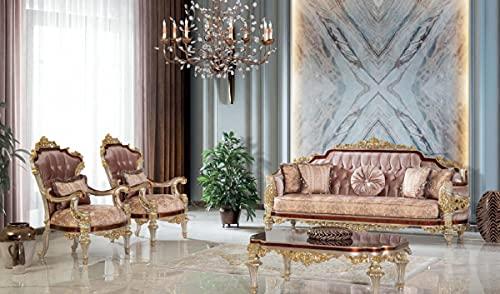 Casa Padrino Conjunto de Sala de Estar Barroco de Lujo Rosa/marrón/Plata/Oro - 2 Sofás y 2 Sillones y 1 Mesa de Centro - Muebles de salón Hechos a Mano en Estilo Barroco - Noble y Magnífica