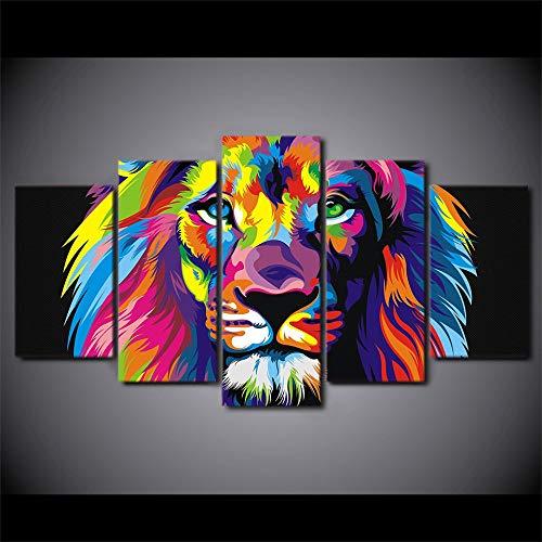 QJHXD 5 Pezzi Stampa Moderni Poster Canvas murali Leone Animale colorato Decorazione Scenario Decorazione Soggiorno Camera da Letto Divano Sfondo 200x100cm(5pcs)