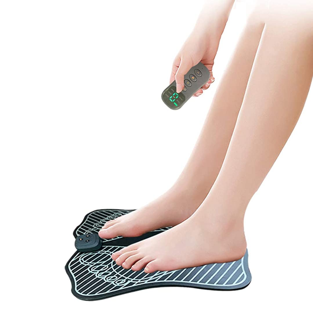コミュニティ促す動的EMSフットマッサージャー電気USB充電式折りたたみポータブル電気マッサージパッド電子筋肉刺激装置リモート足マッサージ血液循環9強度レベルを促進する