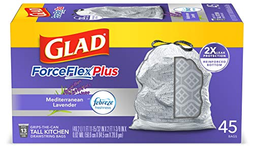 Glad ForceFlexPlus Tall Kitchen Drawstring Trash Bags - 13 Gallon Grey Trash Bag, Lavender with Febreze Freshness 45 Count (Package May Vary)