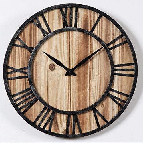 LOSDFVI Wanduhr Nordic Kreative Schmiedeeisen Retro Wanduhr Modern Home Fashion Einfache Wohnzimmer Stumm Uhr Dekoration Uhr an der Wand, S4040 cm