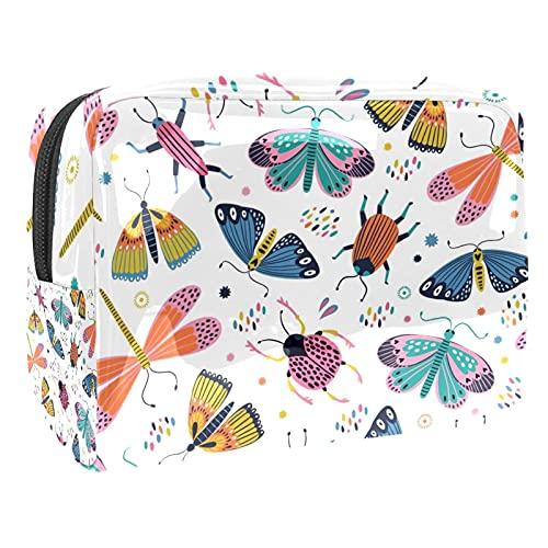 Borsa da Toilette per Donna coccinella Borsa Cosmetica Portatile Borsa per il Lavaggio Make up Bag Per Viaggio a Casa Scuola 18.5x7.5x13cm