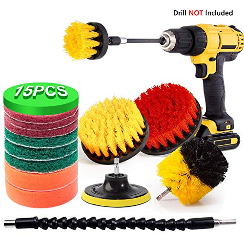 15 Pieces Drill Brush Attachment, Vansware Power Scrubber Brush Scrub Pads Cleaning Kit with Extend Long Attachment for Tiles, Kitchen, Sinks, Stove, Bathtub, Bathroom, Floor, Fit Most Drills (Yellow)