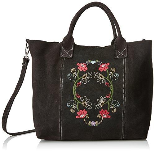 Mamatayoe La Topaia, Bolso totes para Mujer, Marrón (Steel Real Leather), 15x30x35 cm (W x H x L)